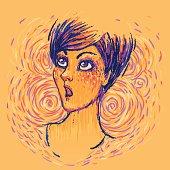 Portrait of a surprised girl facing upward. Vector illustration.