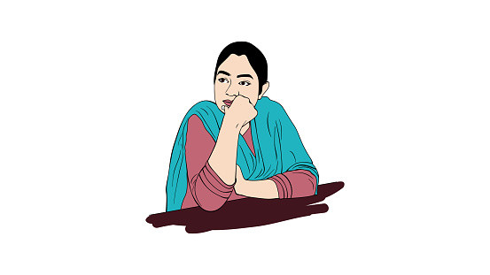 Portrait of a thinking Indian woman.