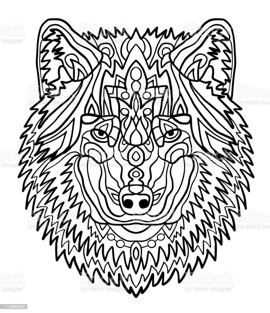 Ilustración De Retrato De Un Lobo Patrones Dibujados A Mano Para