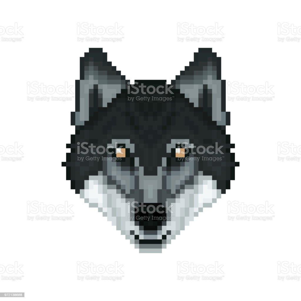 Portrait Dun Loup Dans Un Style Pixel Art Illustration