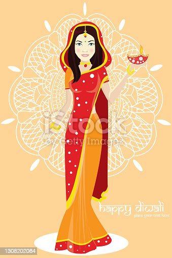 istock Portrait of a Woman holding a traditional Diwali tali, religious offering and smiling. Woman with Beautiful Sari and Offerings. 1308202084