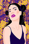 Portrait of a woman with hairstyle and tank top. Young beautiful woman with makeup, red lips, long black hair on summer floral background.  Posing. Holiday trendy flat vector illustration.