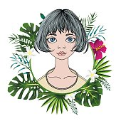 Portrait of a young woman with short hair in floral round frame. Flat vector illustration. Isolated on white background.