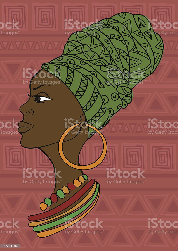 Portrait of African girl in a headscarf vector art illustration