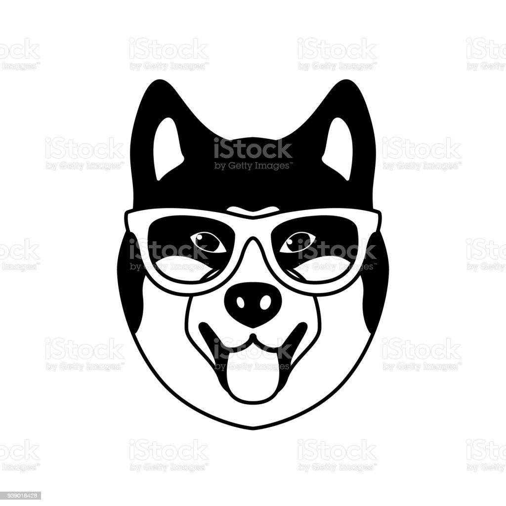 Portrait of Akito Inu with glasses, black and white flat style. Vector illustration of Hipster dog. – artystyczna grafika wektorowa