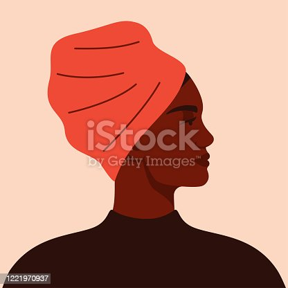 istock Portrait of an African American woman in profile. 1221970937