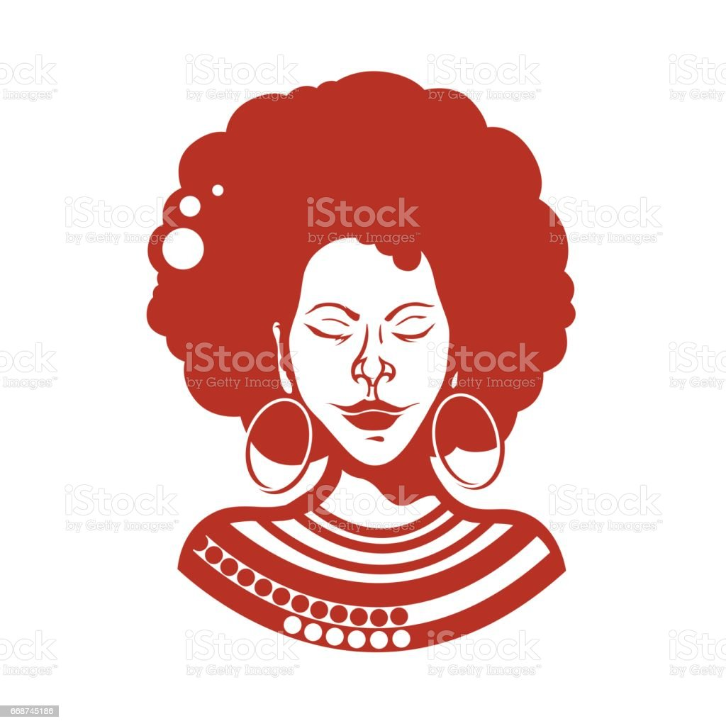 Portrait of an African girl with closed eyes. Haircut, curly hair of medium length. Traditional ornaments. Vector illustration. vector art illustration