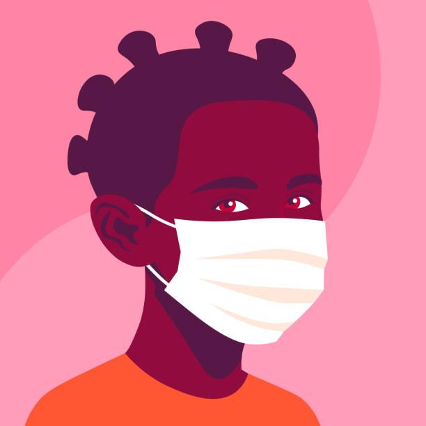 illustrations, cliparts, dessins animés et icônes de verticale d'une fille africaine avec le masque médical. une écolière. - enfant masque