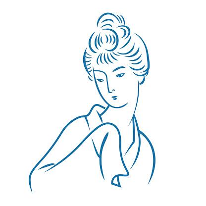 Portrait of an ancient Japanese woman