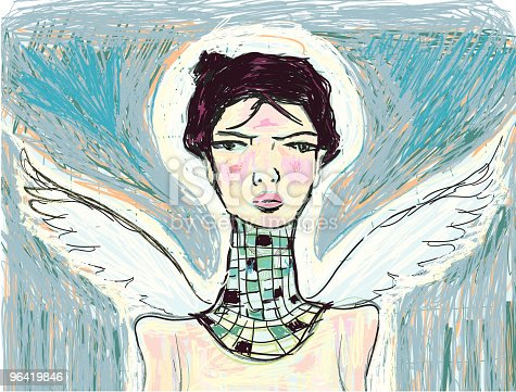 A vector painting of a portrait of an angel. File includes a vector .eps8.