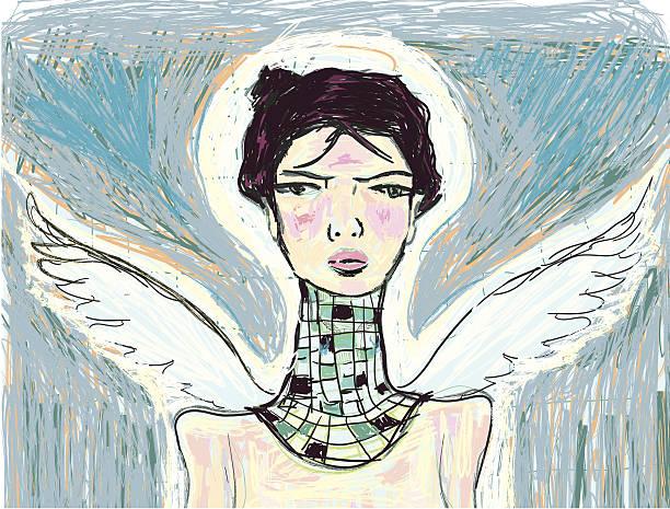 stockillustraties, clipart, cartoons en iconen met portrait of an angel - onschuld
