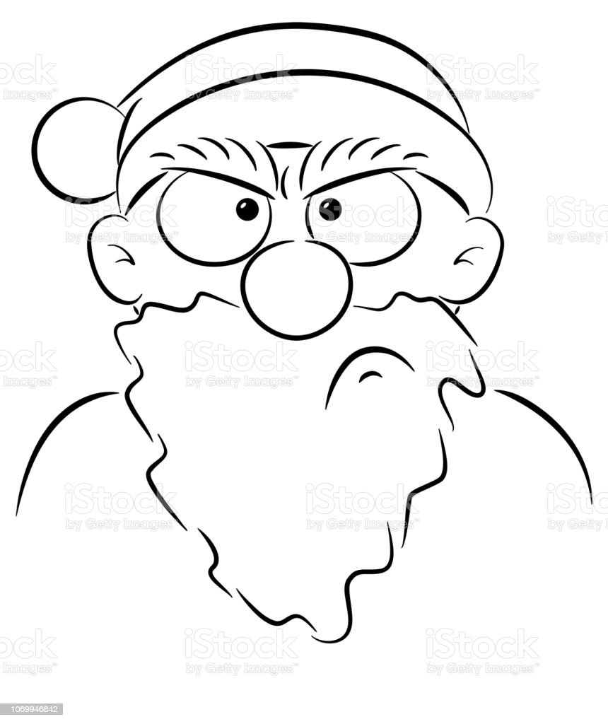 portrait of an angry Santa Claus vector art illustration