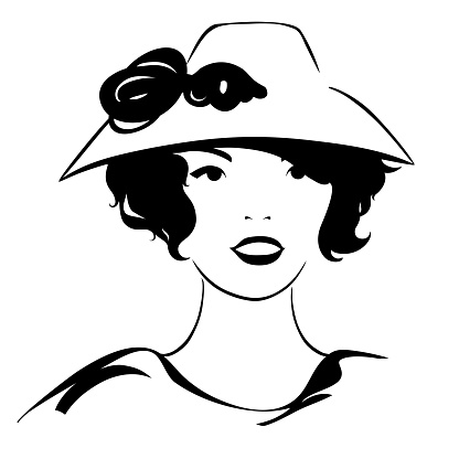 Portrait of an Asian woman in a retro hat