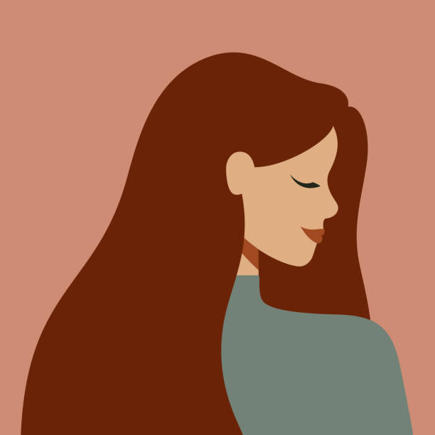 ilustraciones, imágenes clip art, dibujos animados e iconos de stock de retrato de una mujer caucásica de perfil con el pelo largo. - cabello largo