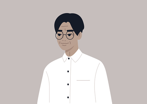 A portrait of an elegant adult Asian man wearing a classic outfit, age and lifestyle