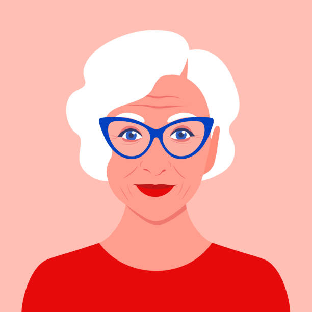 ilustrações de stock, clip art, desenhos animados e ícones de portrait of an old woman with eyeglasses. avatar. happy old age. - old lady