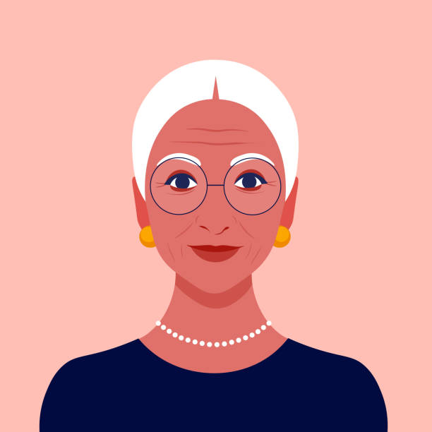 ilustrações de stock, clip art, desenhos animados e ícones de portrait of an old woman with eyeglasses. latina granny avatar. happy face. - old lady