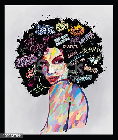 Original abstract art contemporary digital painting portrait of an african american woman  face,  perfect for interior design, page decoration, web and other: vector illustration