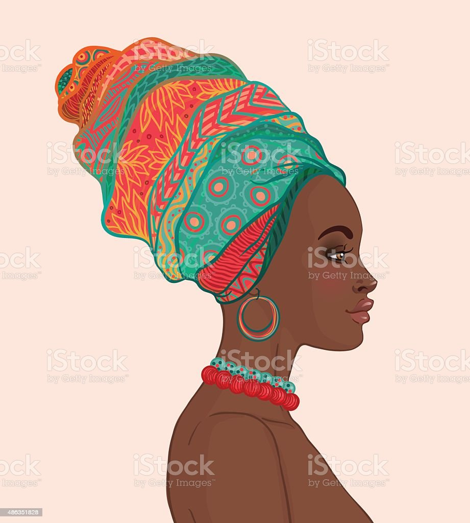 Portrait of beautiful African woman in turban (profile view) vector art illustration