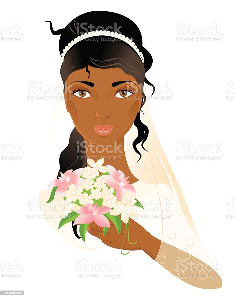Portrait of beautiful african-american bride vector art illustration