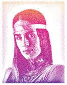 Stipple illustration of beautiful boho woman wearing bib necklace and headband