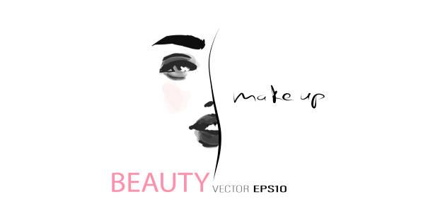 ilustrações de stock, clip art, desenhos animados e ícones de portrait of beautiful girl. face of young woman - woman make up