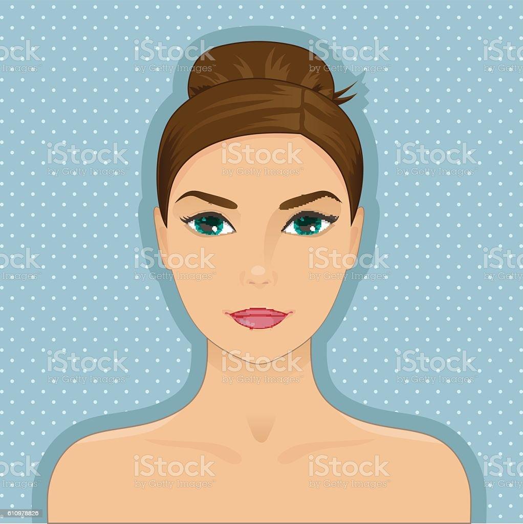 Portrait of beautiful woman with hair bun, dark hair vector art illustration