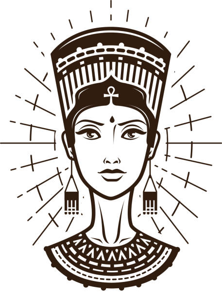 porträt von schöne junge frau, mädchen in ethnischen outfit. ägypten, afrika logo oder label. vintage vektor-illustration - nofretete stock-grafiken, -clipart, -cartoons und -symbole