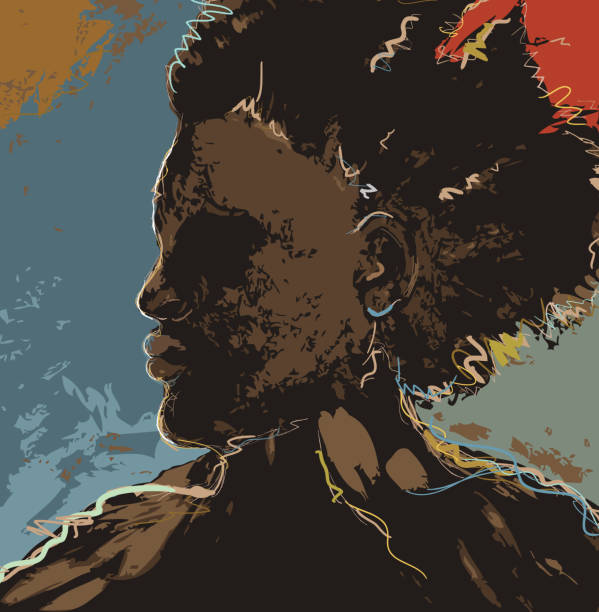 Portrait of black or African American man on colorful background vector art illustration