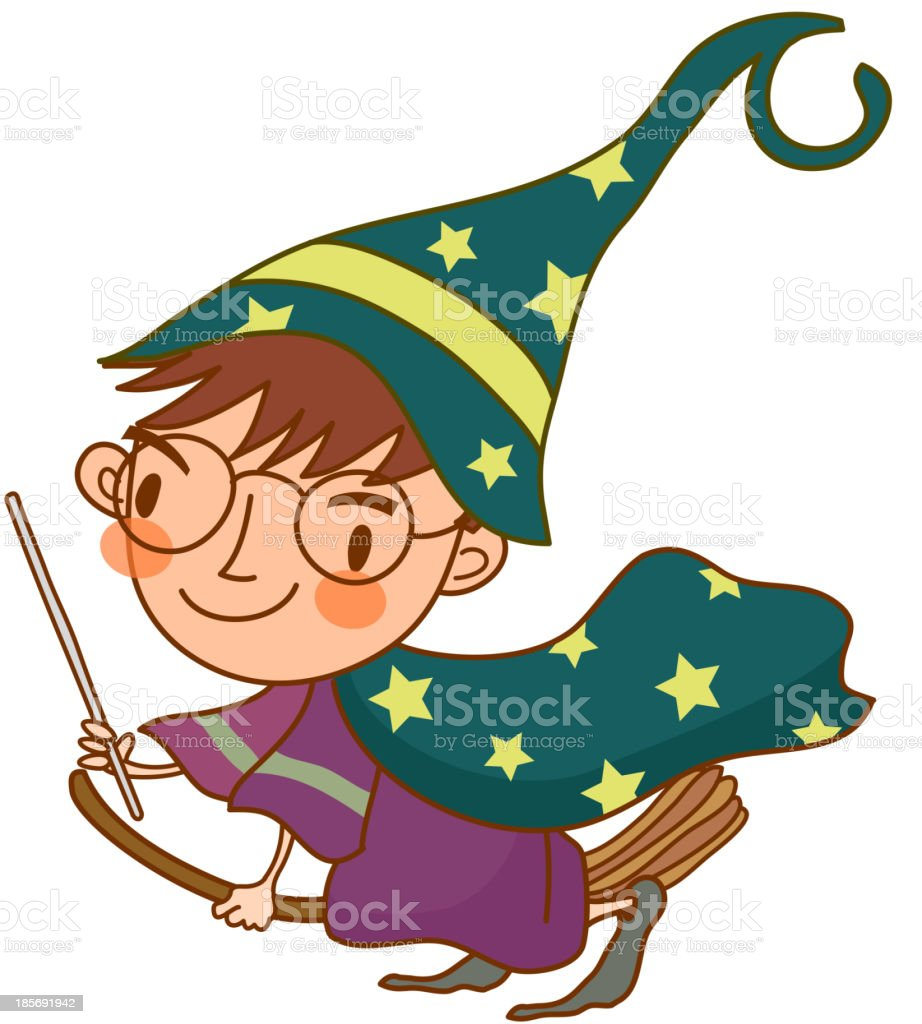 Portrait of Boy with halloween costume and a broom royalty-free stock vector art