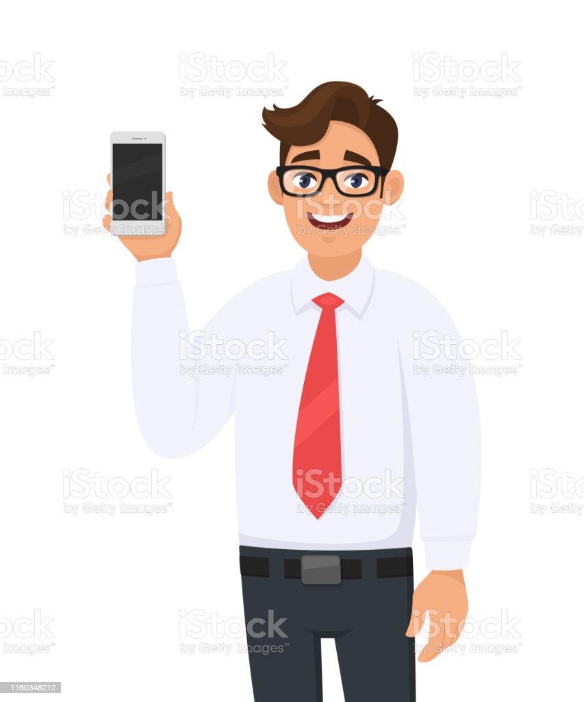 Ilustración de Retrato Del Hombre De Negocios Mostrando Una