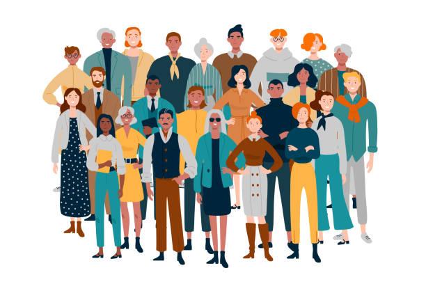 bildbanksillustrationer, clip art samt tecknat material och ikoner med porträtt av affärs team. olika människor står tillsammans. - crowd