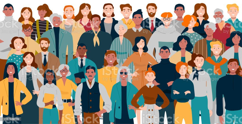 Portrait of business team standing together. Multiracial business people. - Royalty-free Adulto arte vetorial