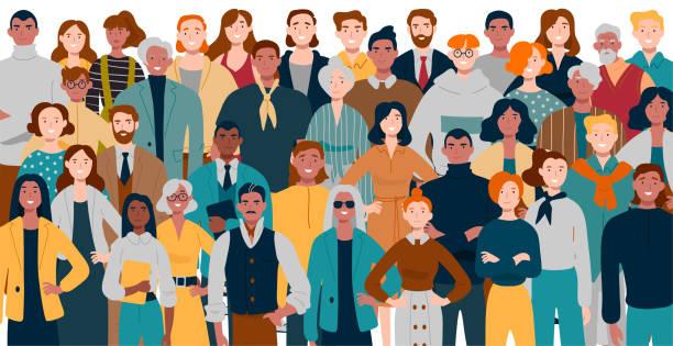 portret stojącego razem zespołu biznesowego. wielorasowi ludzie biznesu. - ruch stock illustrations