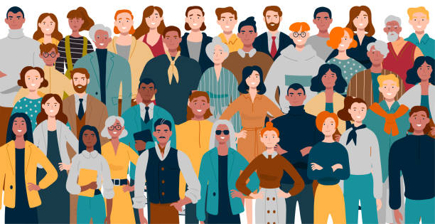 portrait of business team standing together. multiracial business people. - people stock illustrations