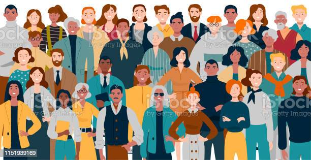 Portrait Of Business Team Standing Together Multiracial Business People - Arte vetorial de stock e mais imagens de Adulto