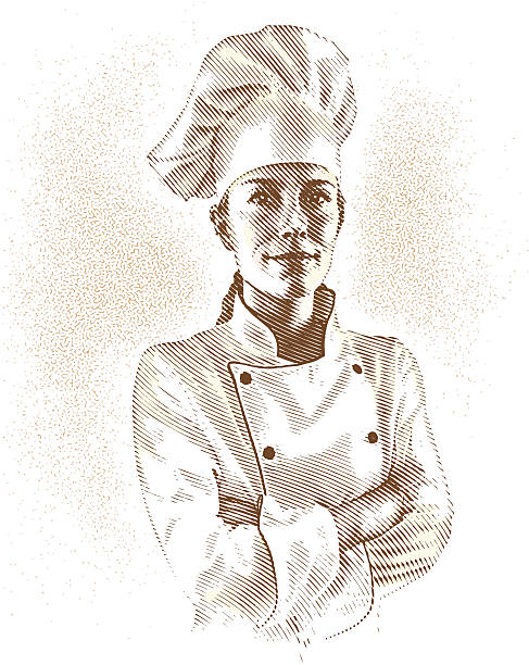portrait of chef - woman cooking stock illustrations