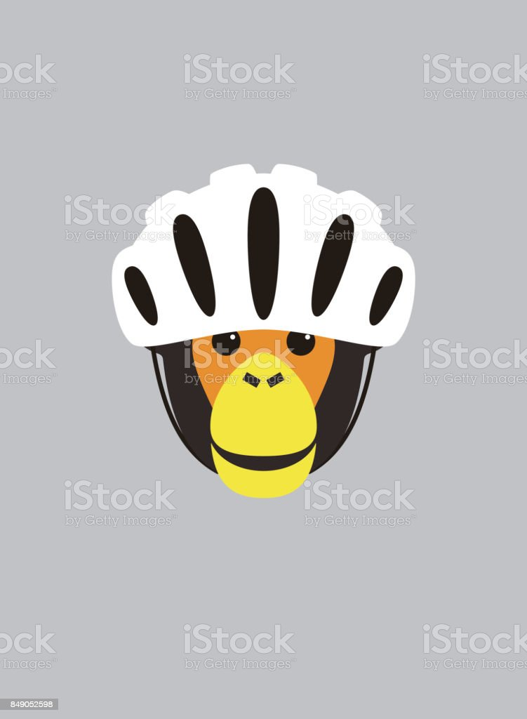 Portrait of chimpanzee, wearing bike helmet, cool style vector art illustration
