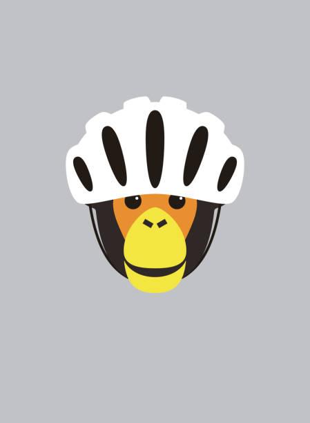 Portrait of chimpanzee, wearing bike helmet, cool style vector art illustration