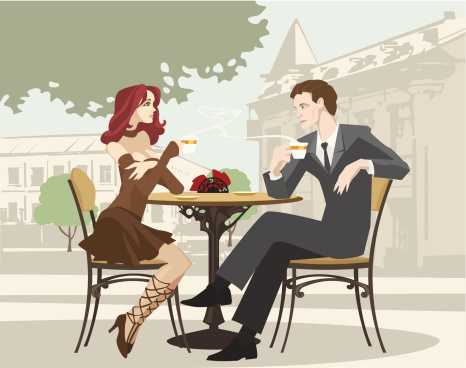 Portrait of Couple Drinking Coffee at Outdoor Cafe