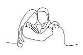 Portrait of couple in love in continuous line art drawing style. Loving man and woman hug each other black linear sketch isolated on white background. Vector illustration