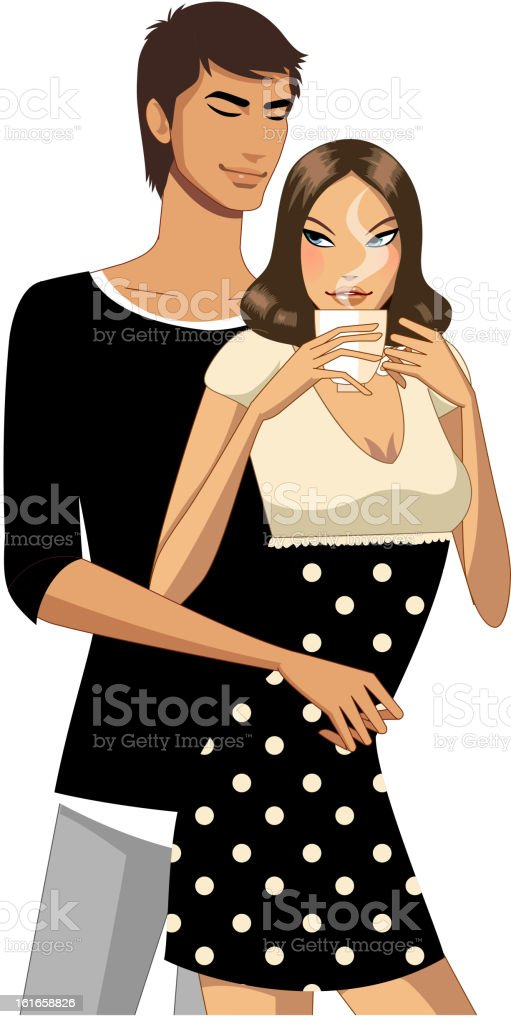 Portrait of couple vector art illustration