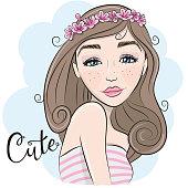 Portrait of Cute Cartoon Girl with flowers in hair