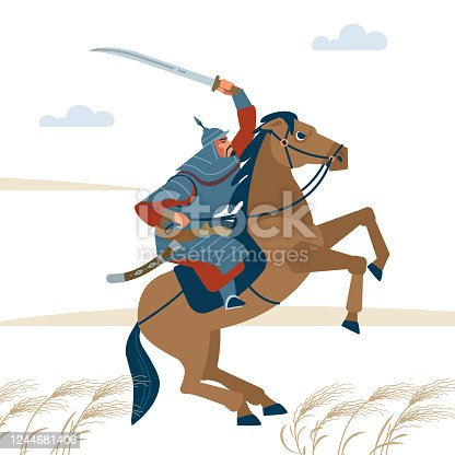 Portrait of dangerous, nomad mongol man riding brown horse in steppe holding sword attacking. Central Asian warrior horseman, ready to attack in battle. Isolated vector illustration in flat cartoon style