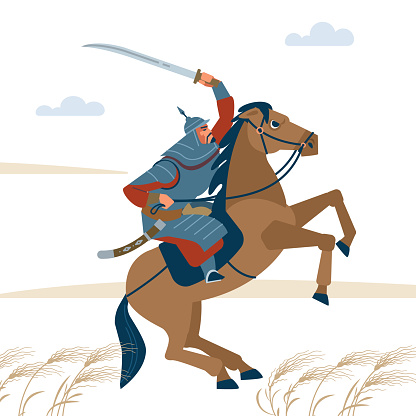 Portrait of dangerous, nomad mongol man riding brown horse in steppe holding sword attacking. Central Asian warrior horseman, ready to attack in battle. Isolated vector illustration in flat cartoon style.