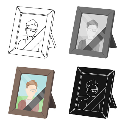 Portrait of deceased person icon in cartoon style isolated on white background. Funeral ceremony symbol stock vector illustration web