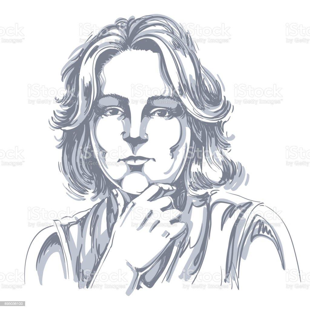 ilustração de retrato de mulher bonita delicada pensando em algo