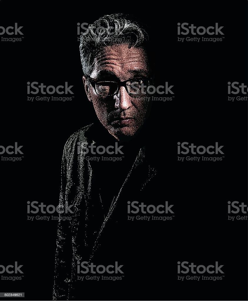 Portrait Of Depressed Man vector art illustration