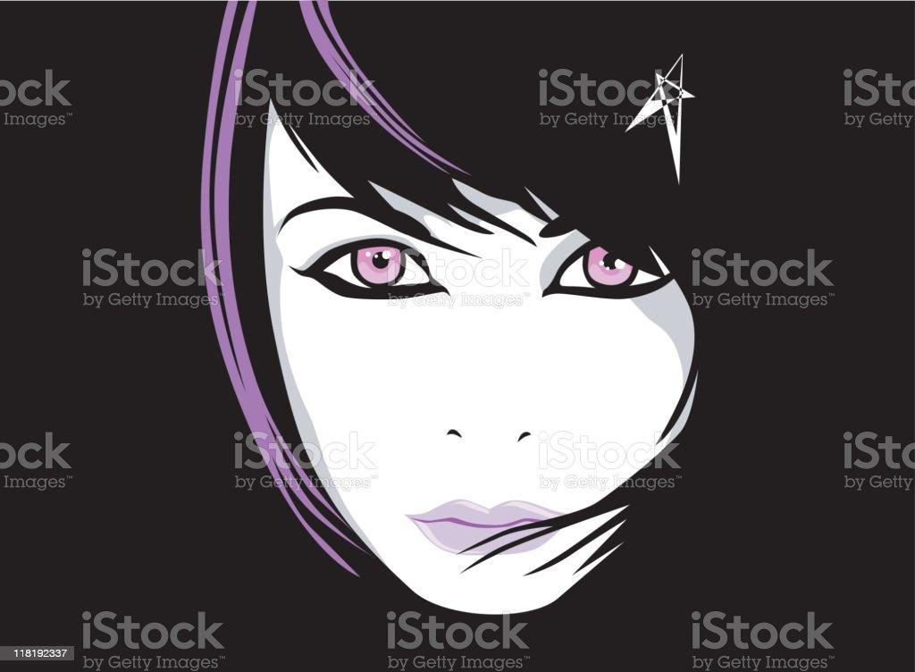 portrait of emo punk girl with purple tuft vector art illustration
