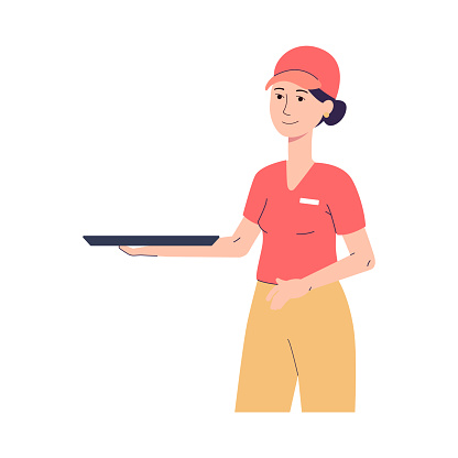 Portrait of female character worker of fast food restaurant with tray on hand.